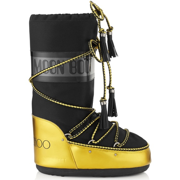 652ae0c6248 Jimmy Choo Moon Boots - Black   Acid Yellow